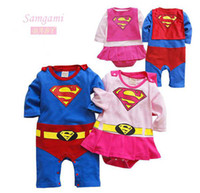 Spring / Autumn baby boy onesies lot - baby boy girl Long sleeve Superman Romper jumpsuit costume creeper all in one baby onesies T