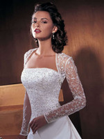 Wholesale 2015 Elegant Cheap Pretty Lace Long Sleeve Bridal Wedding Wraps Jackets For Bride Wedding