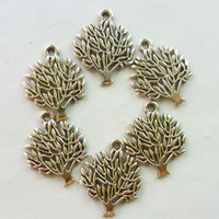 Wholesale 50pcs Computer Engraving Silver Tree Charm Pendant Bead