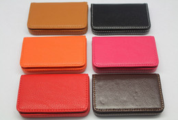 Wholesale Luxury PU leather business cards case bank credit card wallet cases holders box candy colors gift