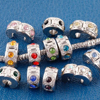 Alloy beads stoppers - 50PCS Metal Plated Crystal Rhinestone Stopper Clips locks European Beads Jewelry Findings Fit Bracelets Snake Chains