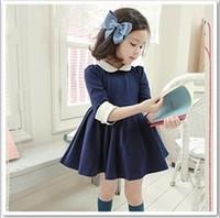 Spring / Autumn korea kids style - 2013 Latest Children School Style Princess Lapel Dress Korea School Dress Child Dress Kids Dresses Baby Dresses Children Clothing Wear