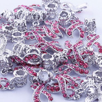 Wholesale 50PCS Breast Cancer Awareness Rose Crystal Rhinestone Ribbon Dangle Pendant European Bracelet Beads Charm Jewelry Findings