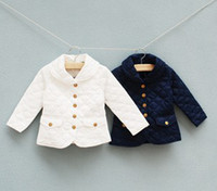 Wholesale Children Girls Autumn Grid Solid Plain Long Sleeve White Navy Outwears Argyle Kids Casual Lapel Jackets Coats B1242