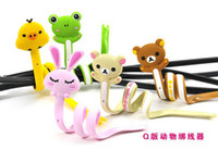 Wholesale Cute sweet cartoon animal wrap cable wire clip tidy earphone winder Organizer holder for moblie cell phone MP3 MP4 etc