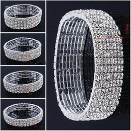 Wholesale 2014 Sparkling Bridal Accessories Rows Rhinestone Crystals Elastic Bracelet Silvery Bridal Jewelry For Wedding Party Cocktail Prom Dresses