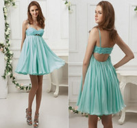 Wholesale Light Blue Lovely A line Sweetheart Neckline Mini Cocktail Party Dress Spaghetti Straps Froal Appliques Short Pageant Gown