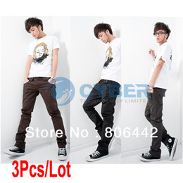 Wholesale 3Pcs Fashion Men s Stylish Designed Straight Slim Fit Trousers Casual Long Pants Size30
