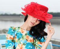 Wholesale Women Hat Church Hat Women Organza Hat Organza Shawl Ladies Sun Shading Beach Hat Fashion Haircord