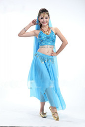 Wholesale Hot Sale Dance Wear Chiffon Belly Dance Women s Bead Performance Ladies Solid Stage Wear Sleeveless Pieces Per Suit Free Size GWY8