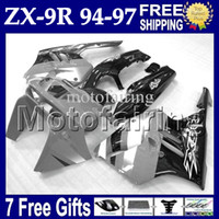 7gifts Gris blanc noir Pour KAWASAKI 94-97 NINJA ZX9R 94 95 96 97 ZX-9R MF # 1537 1994 1995 1996 1997 ZX 9R 9 R gris Carrosserie sur mesure Carrosserie