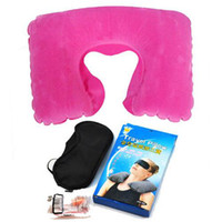 Wholesale Dark Pink U Shaped Inflatable Neck Rest Travel Pillow Cushion Black Eye Mask Shade and Earplugs Ease Tour Pillow a
