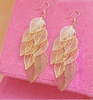 Wholesale 2013 New Bohemia Style Earring Jewelry High Quality Gold Silver Hollow Leaf Hoop Dangle Earrings Free Fast Airmail Shipping