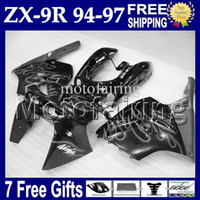 al por mayor 1996 carenados personalizados zx9r-7gifts por 97-94 KAWASAKI NINJA ZX9R 94 95 96 gris llamas 97 ZX-9R MF #1531 1994 negro gris 1995 1996 1997 ZX 9R 9 R Custom carrocería carenado