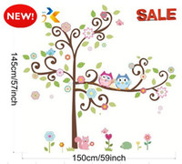Wholesale NEW inch Removable Reusable Owls Tree Flower Wall Stickers Decals Mural Art Wall Sticker Decal Kids Nursery Decor ZY1011