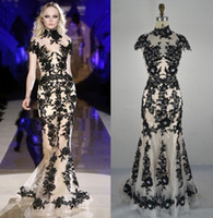 Wholesale Zuhair Murad Black Lace Translucent Prom Spicy White Evening Dress Short Sleeve