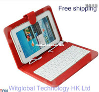 Wholesale 9 quot Amoi Q90 Aoson M33 M19 M30 M11 M12 Newsmy N28 Quad Core Tablet Stand Leather Case USB Keyboard Cover Stylus OTG Free Ship
