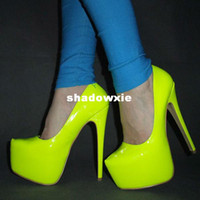 Wholesale New arrived Women Hot Neon color sexy CM ultra High heel Pumps Pink yellow platform party shoes Size