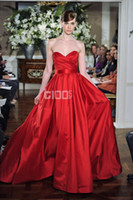 Satin Sleeveless Court Train 2014 New Arrival Red Satin Sweetheart ruffle ruched prom dress prom dress evening dresses for bridal mother bridesmaid dress