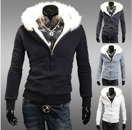 Wholesale 2960 New HOT Men s Casual Fur collar hooded fleece cardigan short paragraph Slim Hoodies amp Sweatshirts Jacket Coat