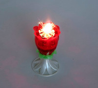 Paraffin Wax+plastic artistic music - 10pcs Artistic music flower open firework ccake candle
