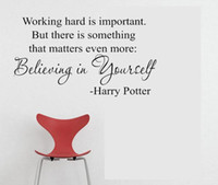 Graphic vinyl believe sayings - 5pcs cm Harry Potter Saying Believing in yourself vinyl wall decal quote sticker Vinyl wall quote lettering art home
