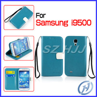 Leather For Samsung 6 color Hand Strap PU Leather Case Pure Color Wallet Style with Card Money Slot For Samsung Galaxy S4 i9500 S4 Mini i9190 S3 i9300 Mega 6.3 i9200