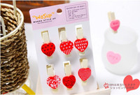 Wholesale Mini Wood Heart Paper Photo Note Money Gift Clip Shaped Wedding Clip Cartoon Clip Free EMS L192