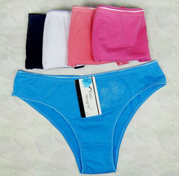 Wholesale Brand New Sexy Women Bikini Thongs Cotton Briefs Size M L XL Colors Girl Panties Pure Solid Color