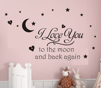 5pcs lot6040cm i love you to the moon vinyl wall decal quote sticker vinyl wall quote lettering art home free shipping