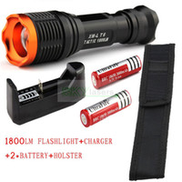 Wholesale CREE XM L T6 Lumens mode Zoomable Led flashlight torch Rechargeable Battery Charger Holster