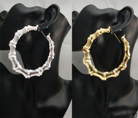 Wholesale pieces X CM Big Gold Silver Tone Bamboo Basketball Wives Stud Earring Dangle Hoop Circle earrings