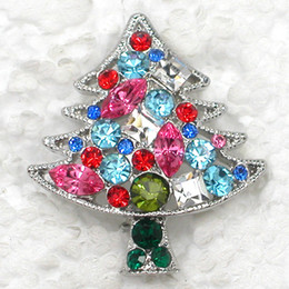 Wholesale C439 Multicolour Marquise Crystal Rhinestone Christmas tree Pin brooch Christmas Gift Brosche