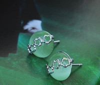 Wholesale 100 Guaranteed Genuine Sterling Silver Stud Earrings With Green Opal Stone Fashion Bijoux YH1040