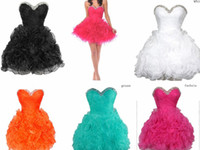 Ball Gown Organza Sexy 6 Colors Available Sweetheart Organza Rhinestones Lace-Up-Back Pleats Cheap Graduation Homecoming Dresses Prom Dresses Under 50