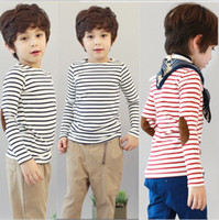 Wholesale Boys Classic Striped Long Sleeve T shirts Baby T shirts New Autumn Patch Strips Children T shirts Kids Casual Shirts Boys Clothes