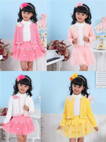 Girl Spring / Autumn Long Wholesale - South Korean version fleece suit girls net veil long-sleeved 3pcs suits (T-shirt + short skirt, coat) Baby girl lace clothing