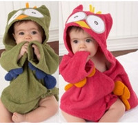 Robes Free Size Red Sample 1PCS Free Shipping Owl Baby Bath Towels Children's Bath Robe Newborn Blankets Cartoon Hoodie Bathing Towel Hooded Bathrobe D214