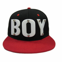 Wholesale BOY Baseball Caps Adjustable Hats Snapback Rivet Hats Spike Studs Cap Punk Style Unisex Hiphop Cap Customized Acrylic Letter Hats
