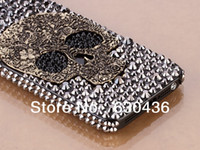 Wholesale 3D Cool Handmade Bling Luxury Diamond Crystals Skull Case Cover for iPhone G as Gift