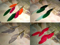Wholesale pairs Vintage gold long single feather earrings fashion drop earring wing for women charm mix colors L184