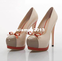 Wholesale The new fashion sweet beloved round head bowknot fine with high water table lady shoes with