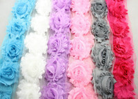 Wholesale NEW quot shabby flowers yard trim lace shabby chiffon flowers for cloth yard color colors for selection