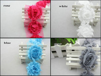 Wholesale NEW quot frayed chiffon rose trim shabby flowers yard shabby chiffon flowers hair accessories yard color colors for selection