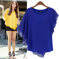Wholesale fashion new women silk blouse new bat sleeve chiffon short sleeved T bottoming large size t is good quality