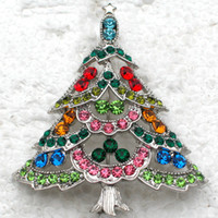 african trees - Fashion Christmas Brooches C666 E Multicolou Crystal Rhinestone Christmas tree Pin Brooch Christmas gifts