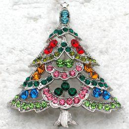 Wholesale Fashion Christmas Brooches C666 E Multicolou Crystal Rhinestone Christmas tree Pin Brooch Christmas gifts