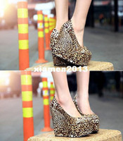 Wholesale drop shipping hot sale new fashion sexy leopard waterproof high heels women wedge heel shoes Platform Pumps size