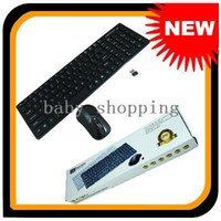Wholesale NEW Portable Black USB G Meters Optical Wireless thin Keyboard Mouse Combo Set FC K amp