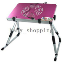 Cheap NEW Portable Folding Laptop Bed Desk Stand Bed Table With Cooling Fan Pink Blue